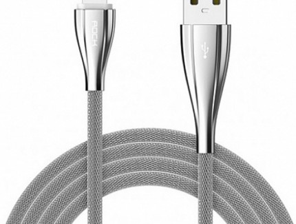 Rock Lightning Metal Data Cable Silver 1.0m